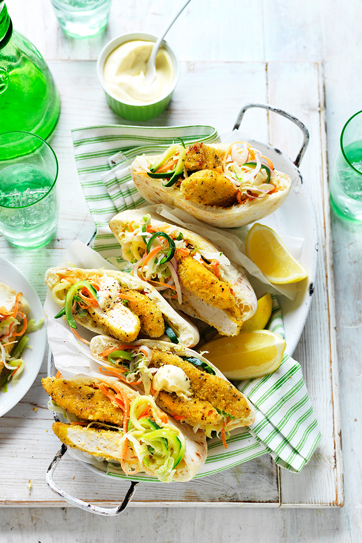 This easy lemon and pepper chicken, zucchini slaw pitas can be served for lunch or dinner and is great to feed a hungry family.