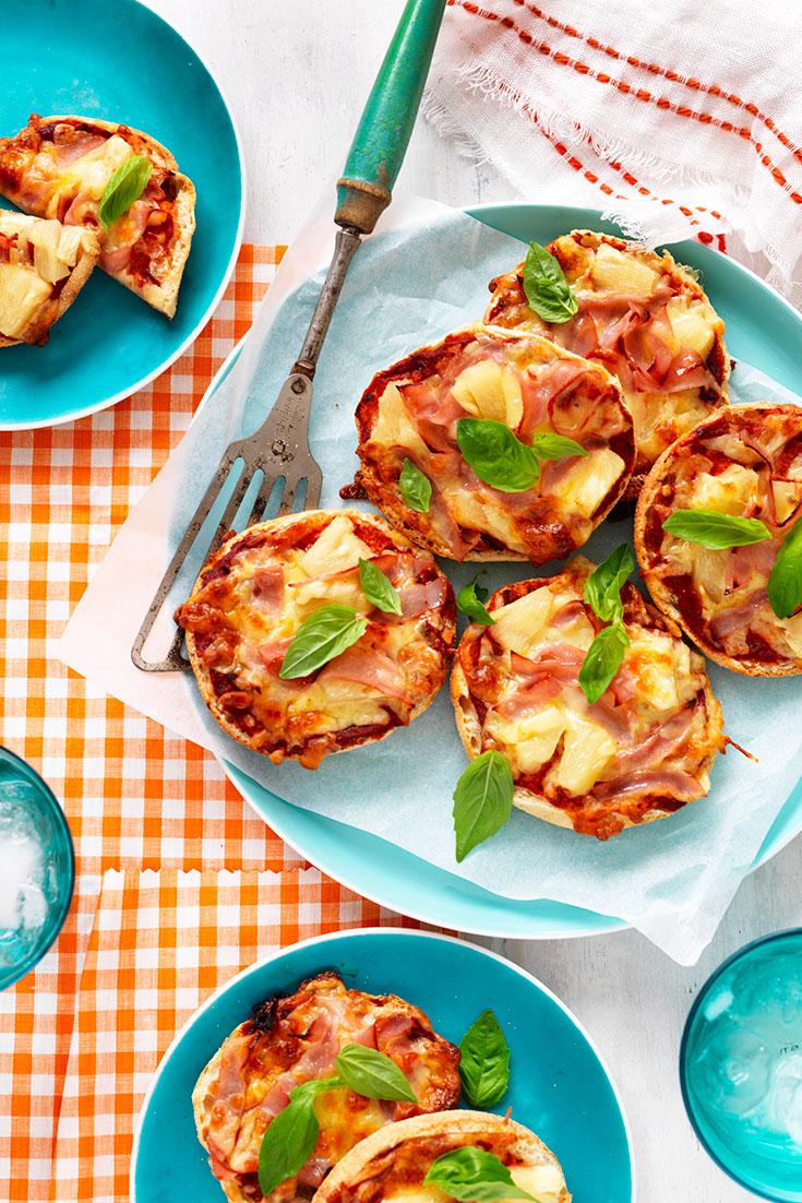 This easy mini Hawaiian pizza recipe is a great Friday night dinner idea for the family.