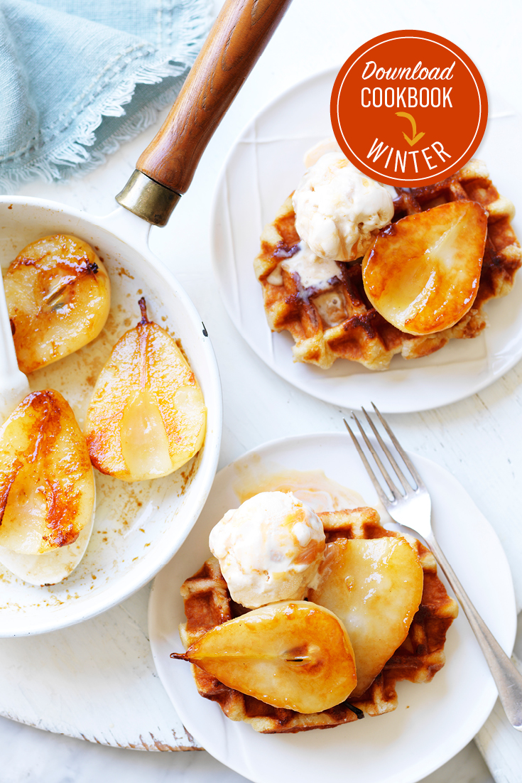This 15-minute waffles recipes, served with ice cream and pears is a great last-minute dessert for guests.