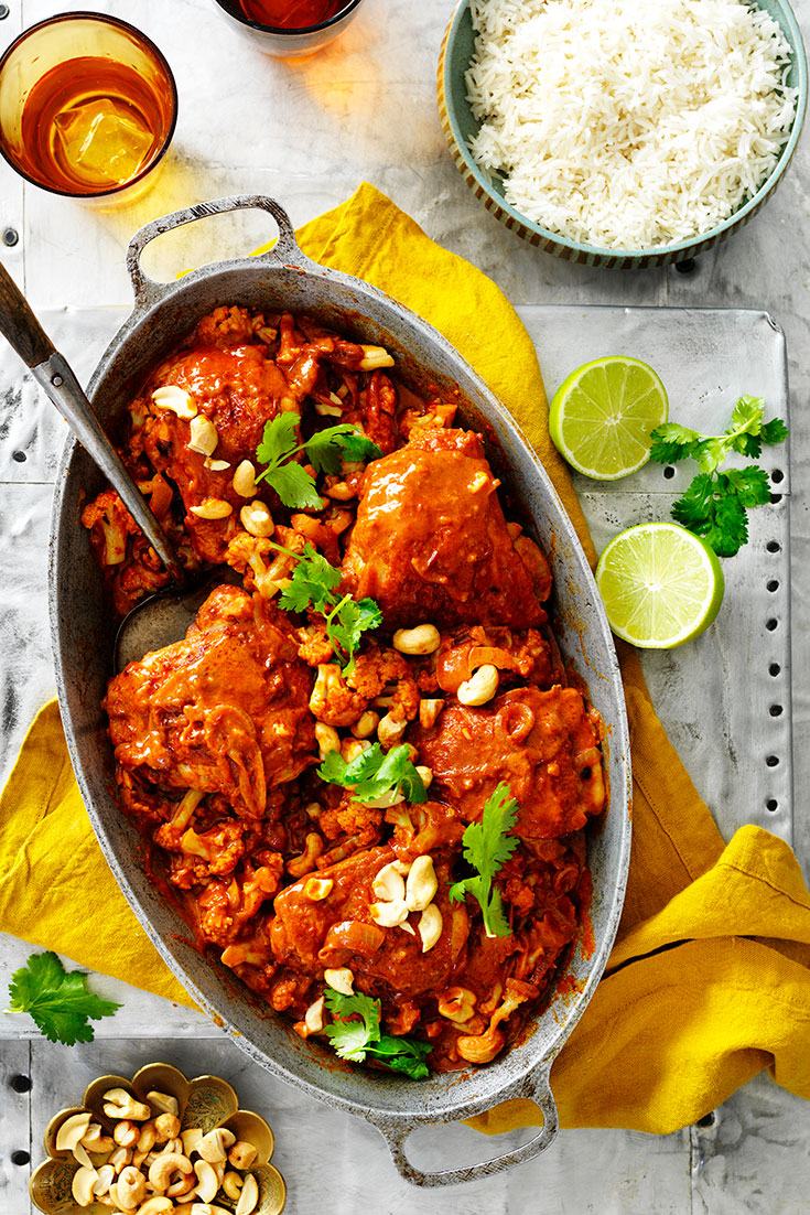 This easy one-pan butter chicken with cauliflower recipe is the ultimate family meal during busy weeks.