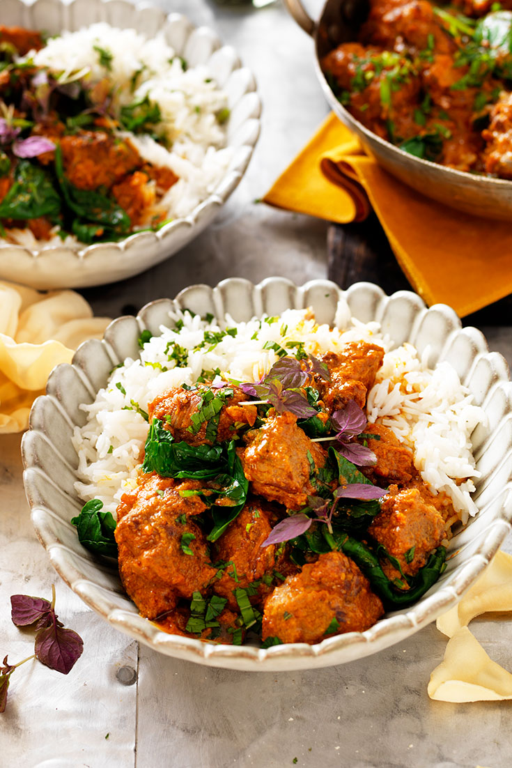 This delicious and hearty lamb rogan josh with yoghurt and spinach is a great all rounder curry and makes for even better leftovers.