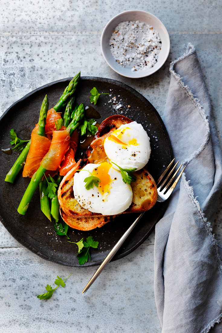 This seriously easy poached egg recipe with asparagus dipper is the perfect fuss-free breakfast lunch or dinner.