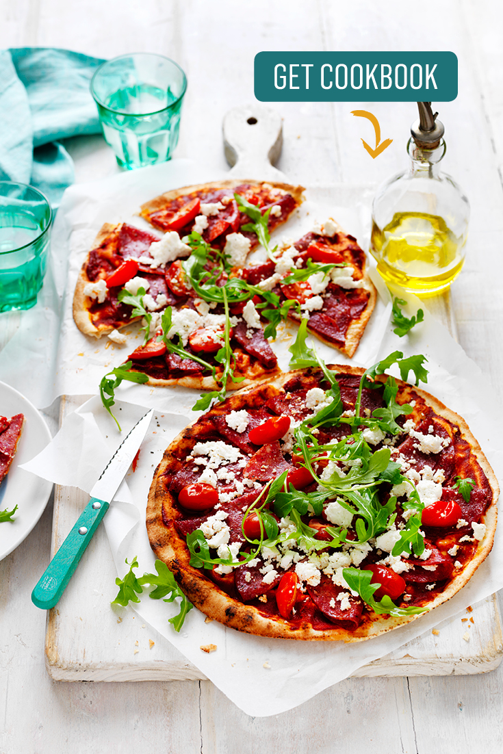 This easy Salami, tomato and ricotta pizza recipe is the perfect weekend dinner that is great for sharing.