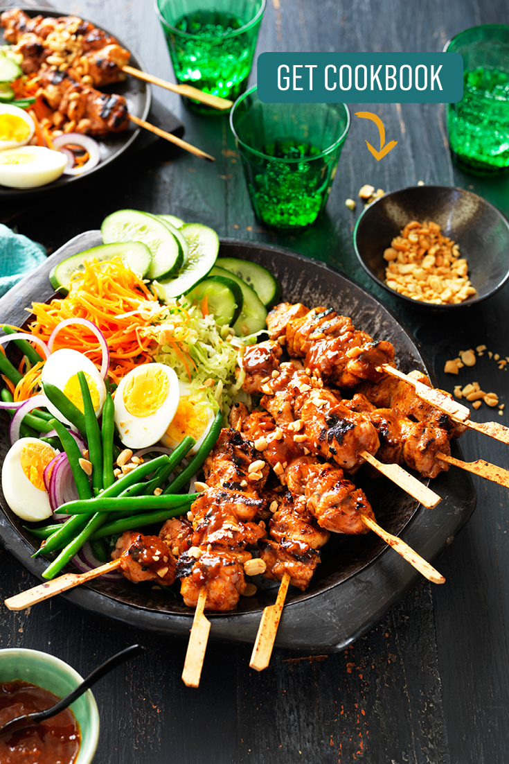 This easy chicken satay skewers with gado gado is a great family dinner idea perfect for weeknights.