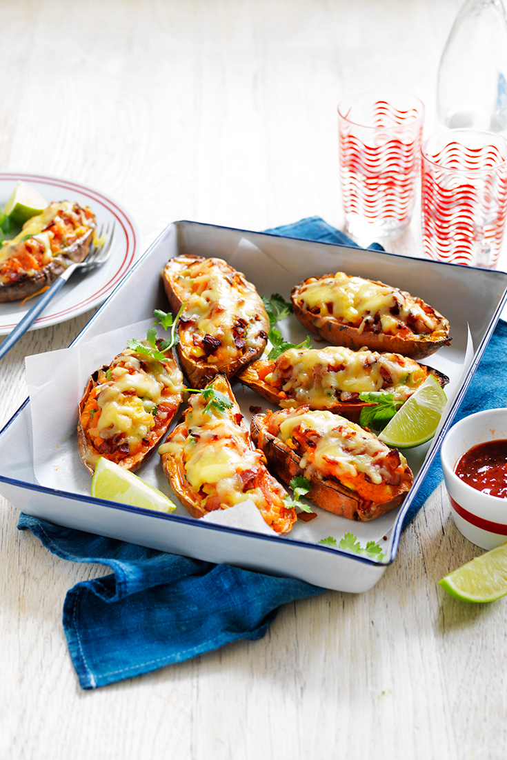 These easy loaded sweet potato skins, use up the whole sweet potato. This recipe is great for root to stem cooking.