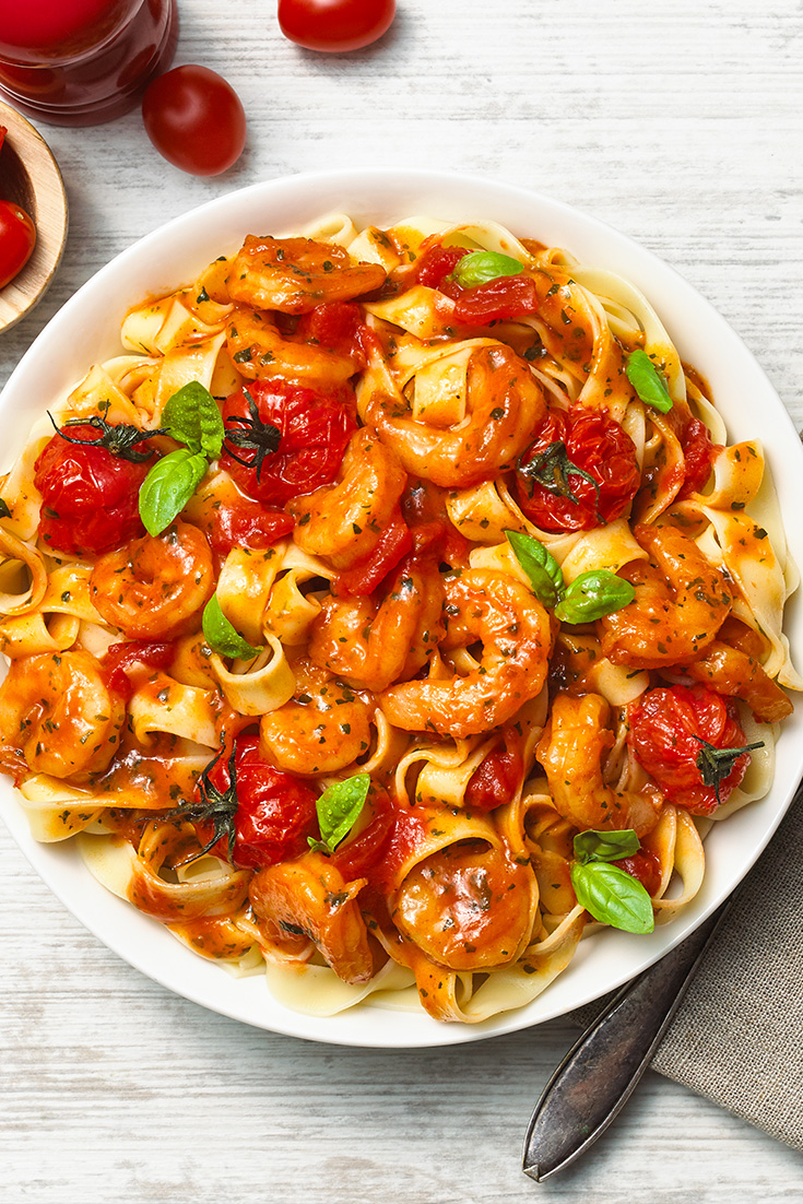 This quick and easy Italian prawn tomato tagliatelle pasta recipe is great for families and can be on the table in 20 minutes.