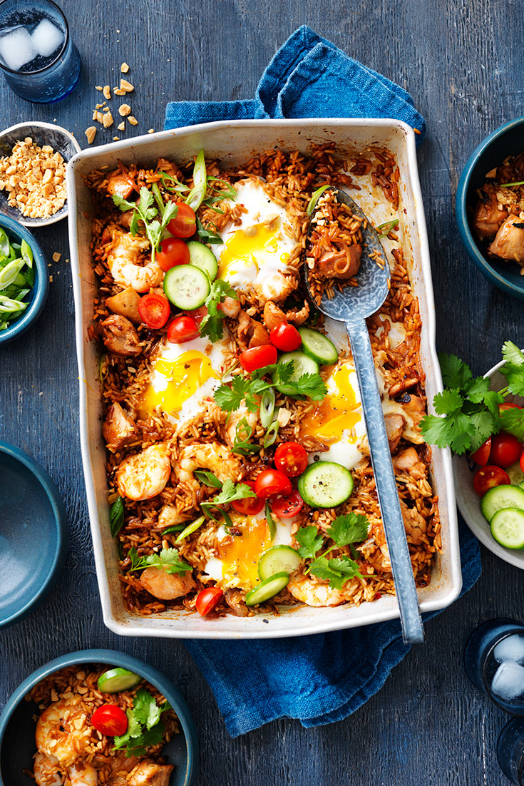 This easy nasi goreng tray bake recipe is your new favourite weeknight dinner. Simple cook all of your ingredients in the tray and serve.