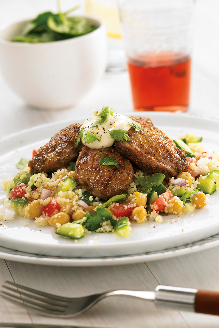 This easy Middle Eastern quail with couscous salad and garlic sauce is a great family dinner idea to enjoy all the Middle Eastern flavours.