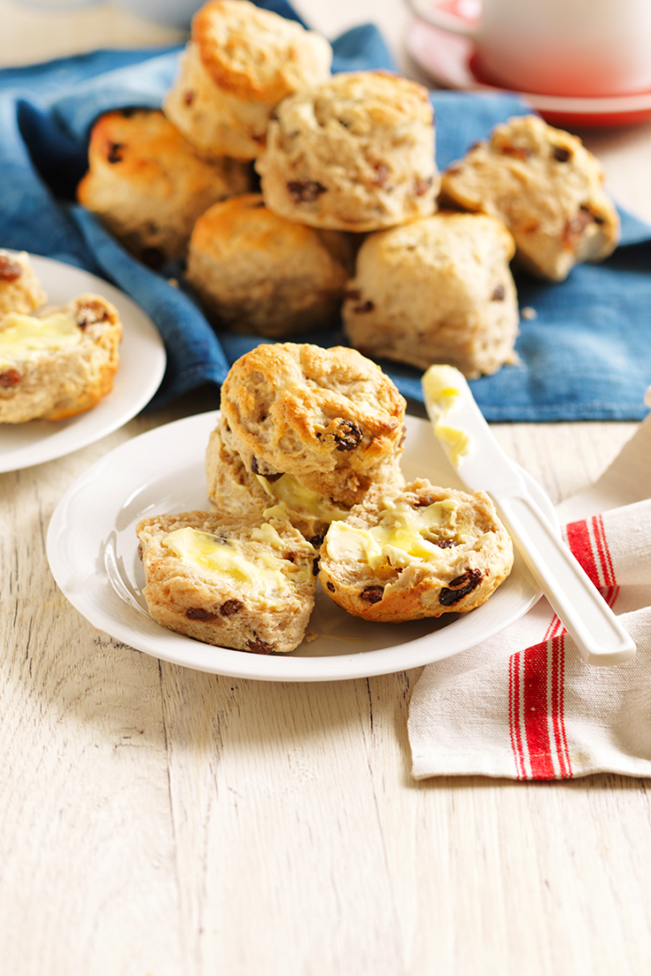 Make these fluffy Sultana and Cinnamon Scones for afternoon tea. How to rub butter into flour