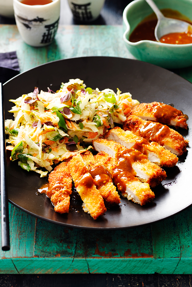 This easy katsu pork recipe served with pear and carrot slaw is the ultimate family dinner idea to enjoy during the week.
