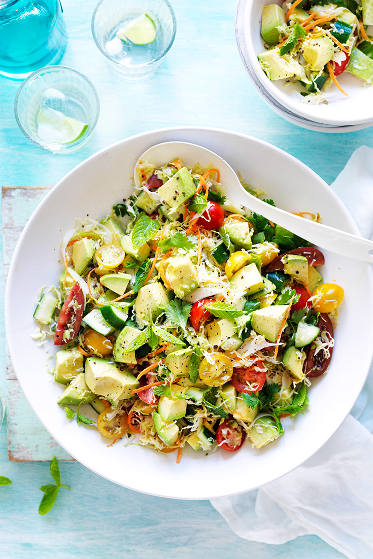 This fuss-free avocado and cabbage salad recipe is a great side-salad for barbecues or casual dinner parties.