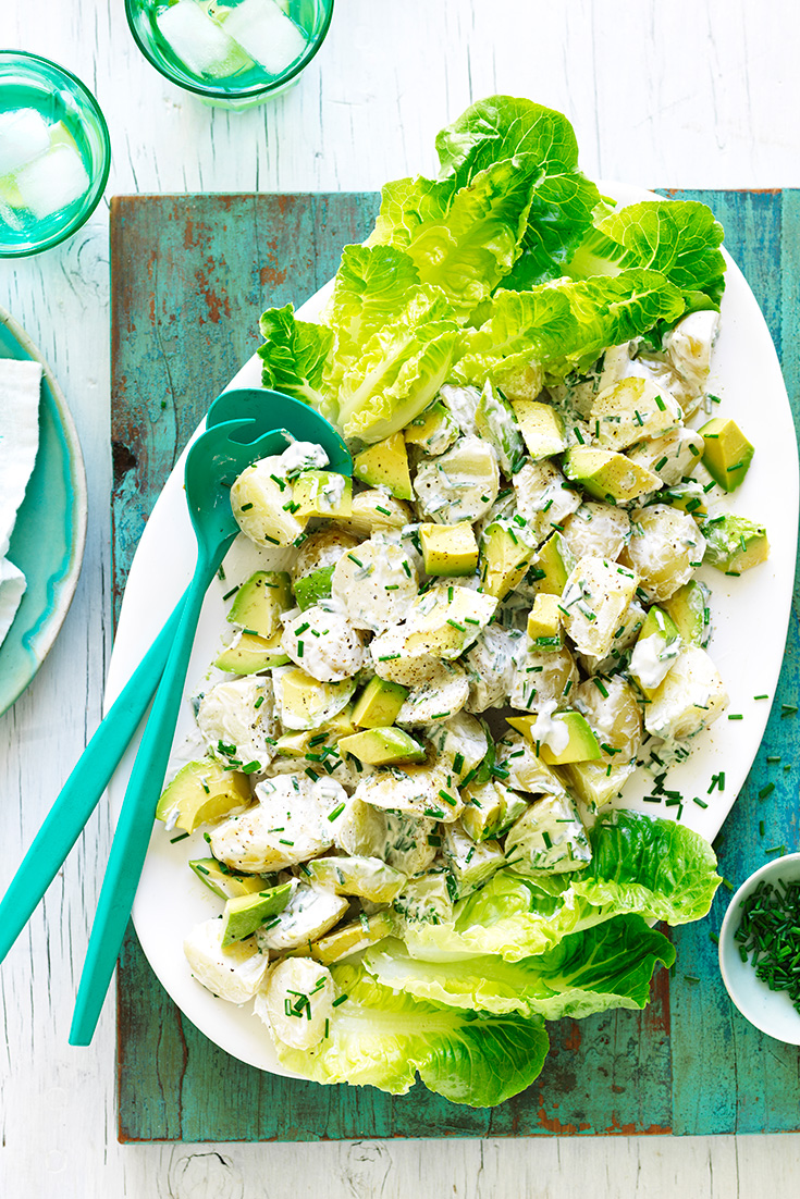 This easy avocado potato salad recipe is the ultimate side dish to serve at a barbecue.