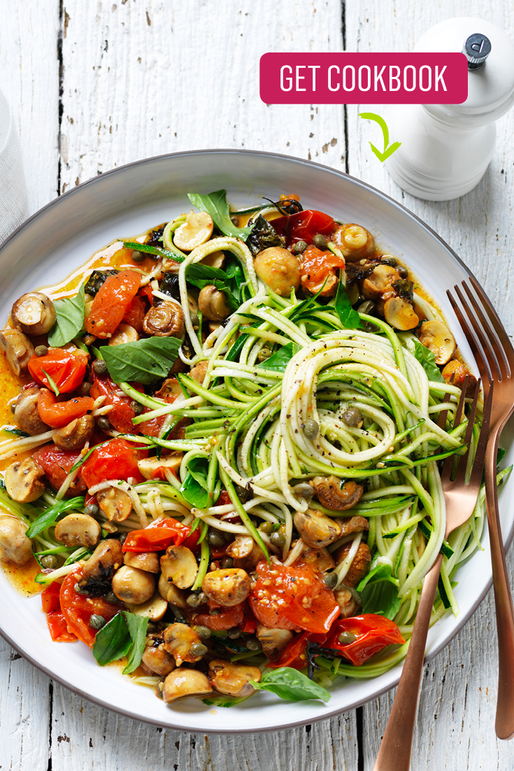 This easy zoodle and mushroom salad is a lovely side salad for barbecues or other casual dinner parties.