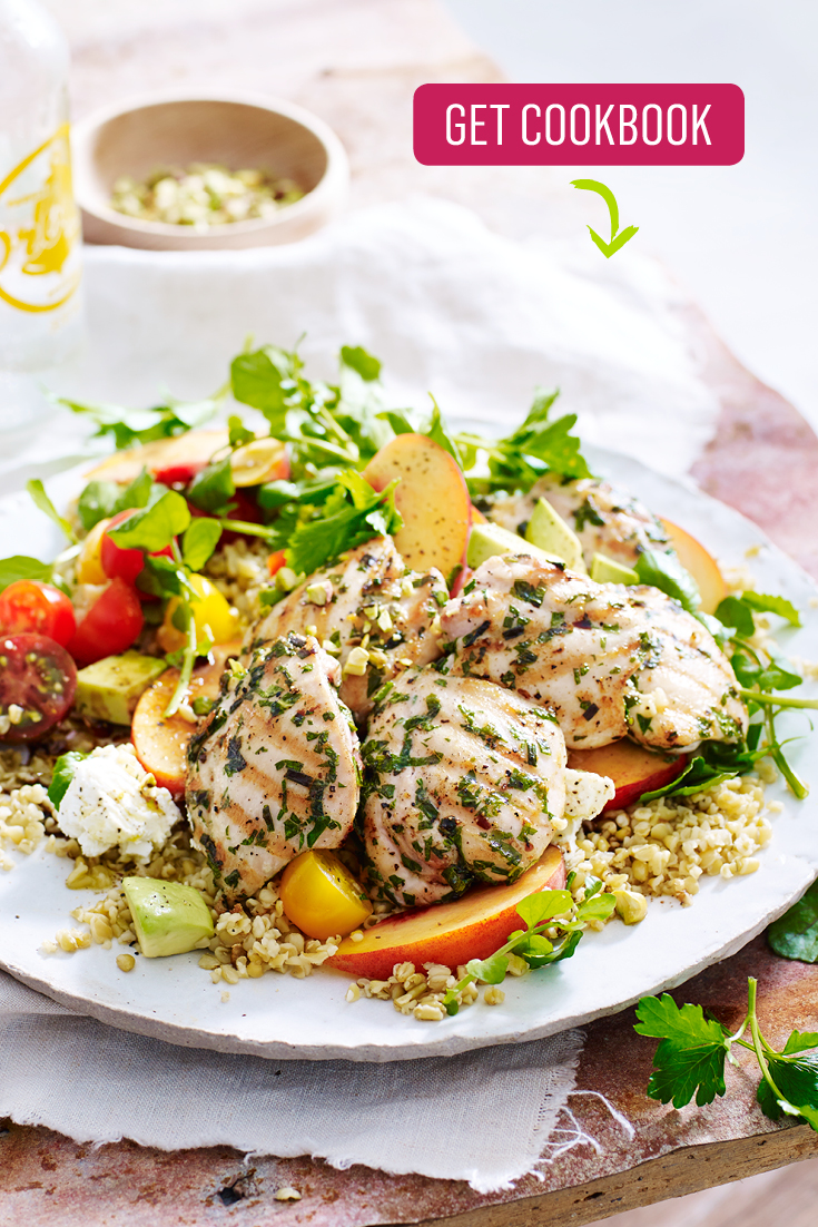 This fresh and quick chargrilled herb chicken with freekeh and peach salad is the perfect work-desk lunch or speedy springtime dinner idea.