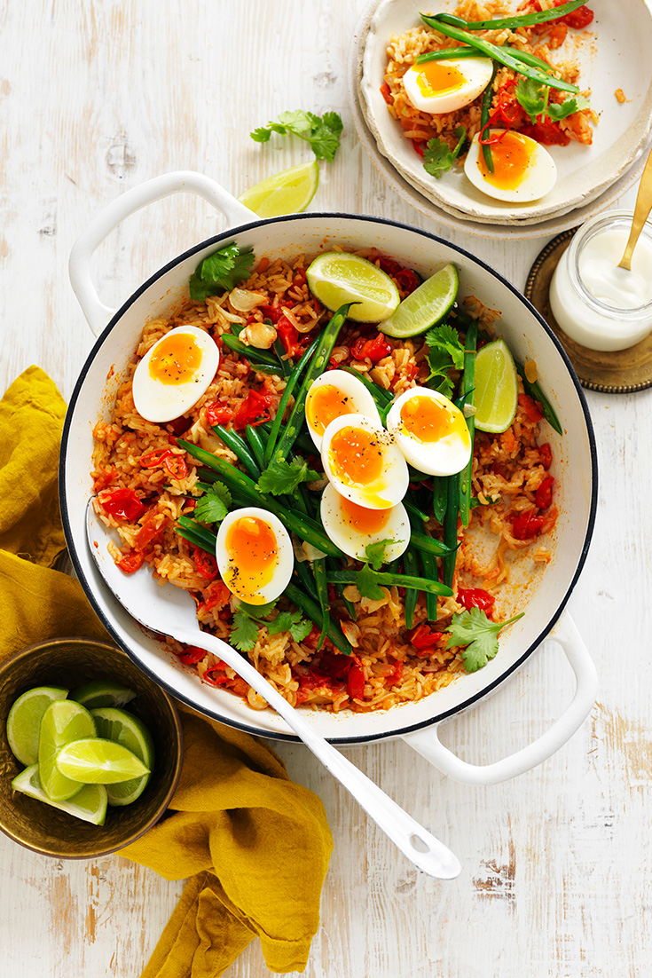 This easy tomato and ginger biryani with eggs recipe is a great midweek family dinner idea that is also great as leftovers.