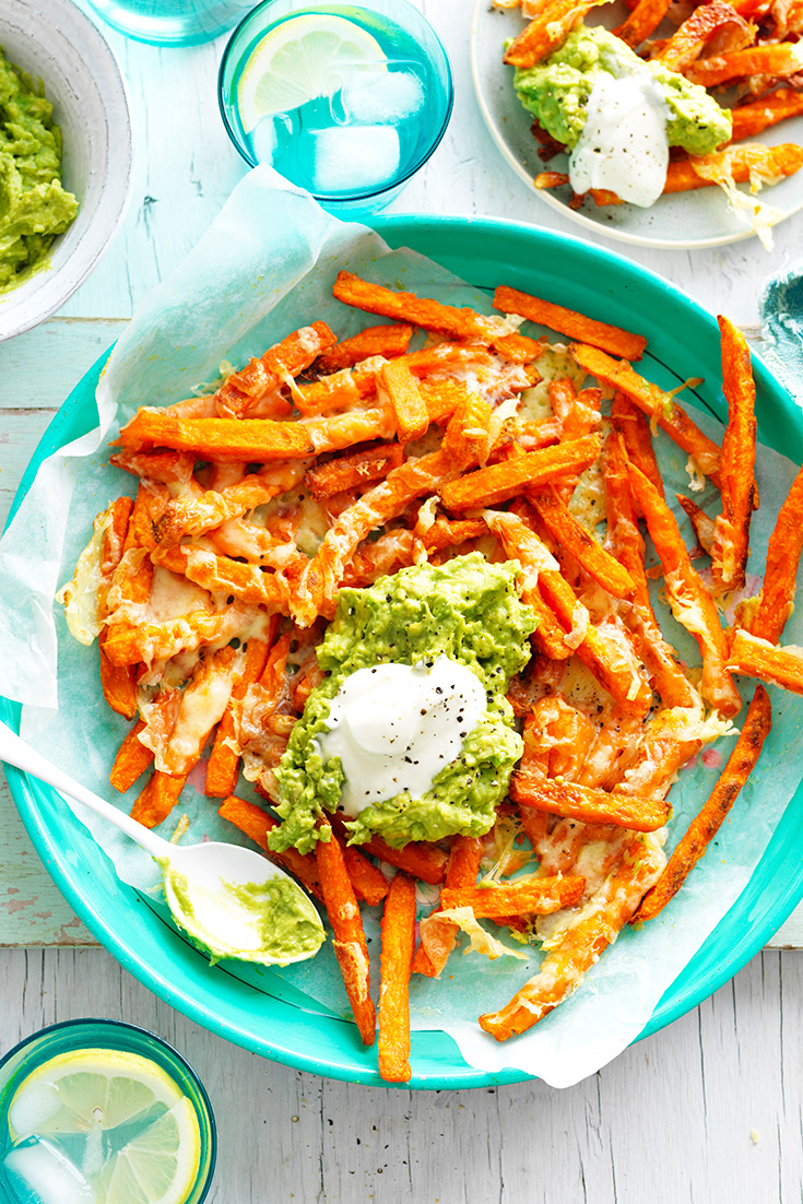 This fuss-free loaded avocado sweet potato fries recipe is the perfect snack or appetiser, great for events like footy finals.