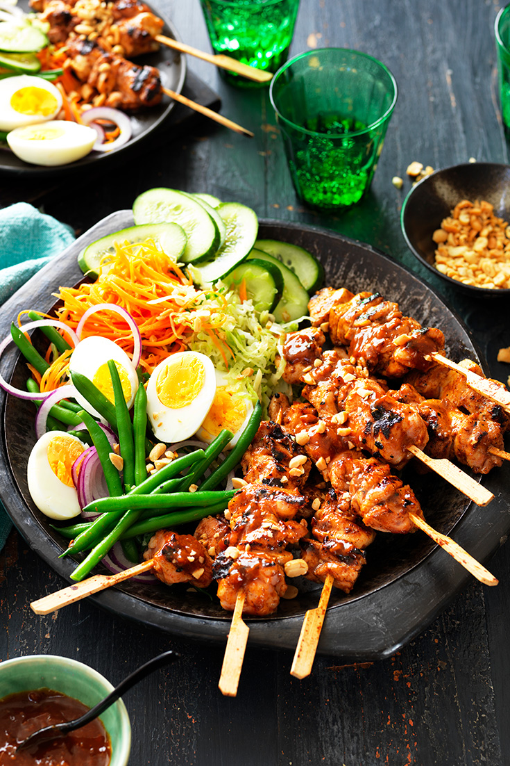 This easy chicken satay skewers with gado gado salad makes for a fuss-free midweek dinner that the whole family will love.