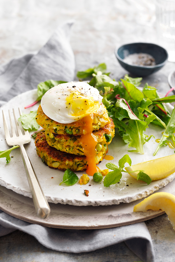 This easy vegetable fritters recipe with poached eggs can be enjoyed for breakfast, lunch or dinner.