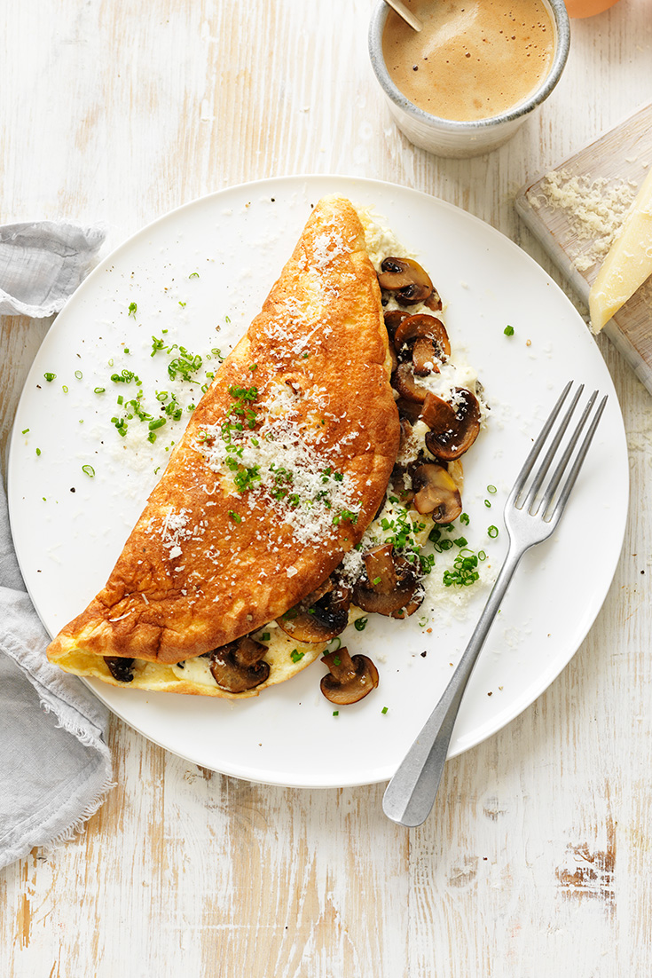 This stunning mushroom soufflé omelette recipe is the perfect breakfast or brunch idea for a special occasion like Mother's Day or a loved ones birthday.