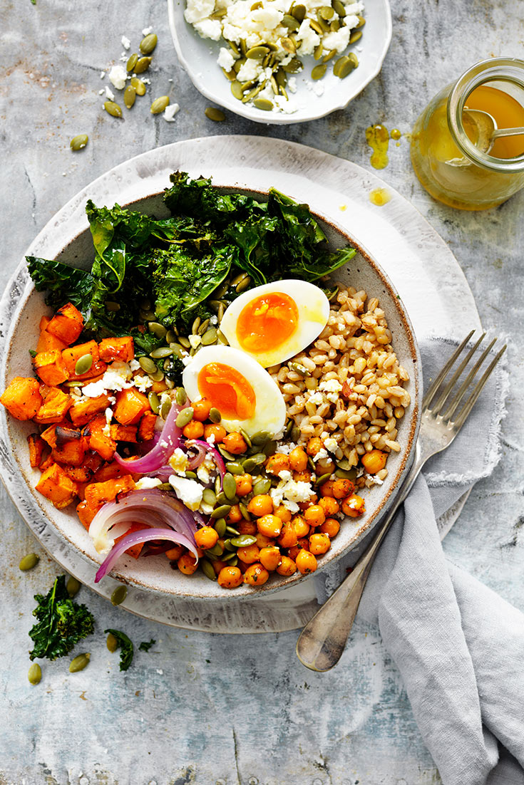 This easy barley nourish bowl with soft-boiled eggs recipe is a hearty salad great for lunch or dinner.