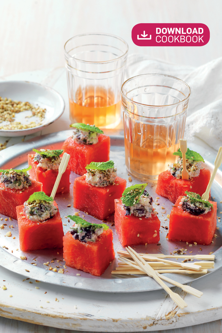 This easy watermelon cubes with feta, olives and mint recipe is a wonderful refreshing appetiser for any summer dining event.