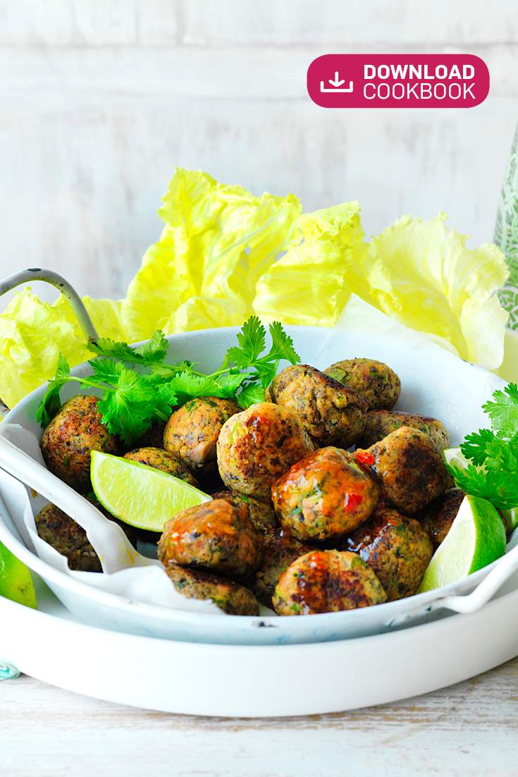 These easy Thai pork and mushroom meatballs make for a great starter for any summer party.