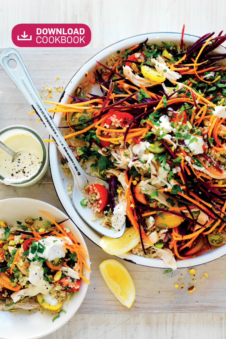 This colourful carrot, tomato and chicken quinoa salad recipe is the perfect main meal for Summer dinner parties.
