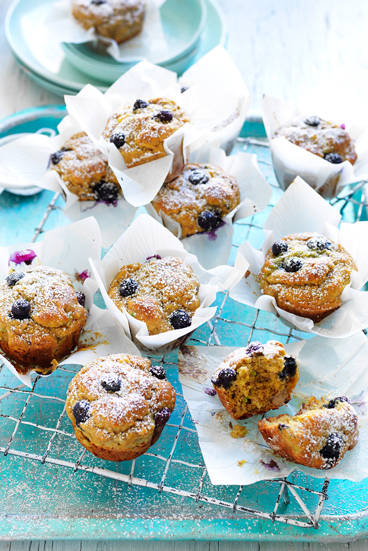 This easy avocado banana muffin recipe is great snack idea for lunch boxes. The blueberries make a great addition to the muffin.