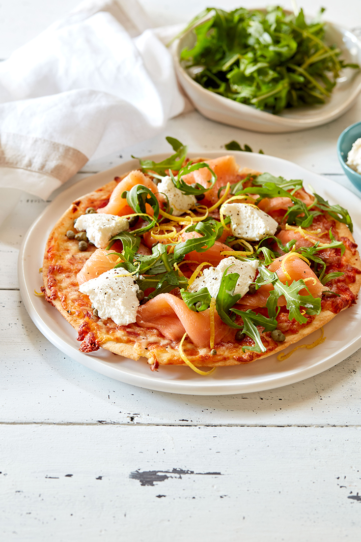 This easy smoked salmon, ricotta and rocket pita pizza is the perfect homemade pizza recipe to try when entertaining.