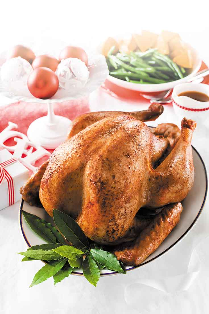 This classic roast turkey recipes pairs beautifully with the fig and apricot stuffing.