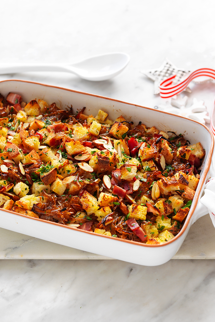 This irresistible crispy bacon and onion stuffing tray bake recipe is the perfect side dish to have on your Christmas table.