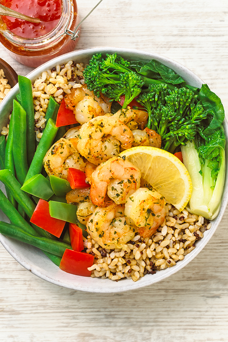 This easy prawn buddha bowl recipe is a great dinner idea if you don't feel like cooking.