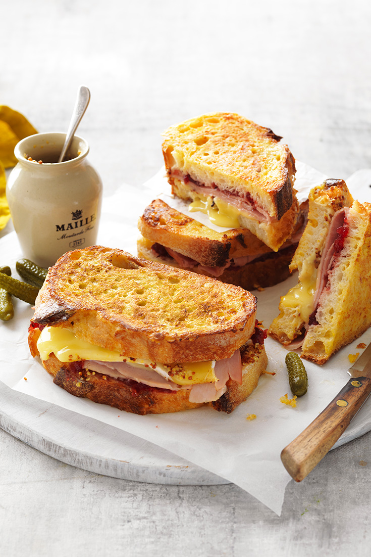 This easy ham, cranberry and camembert French toast recipe is a great way to use-up leftover Christmas ham.