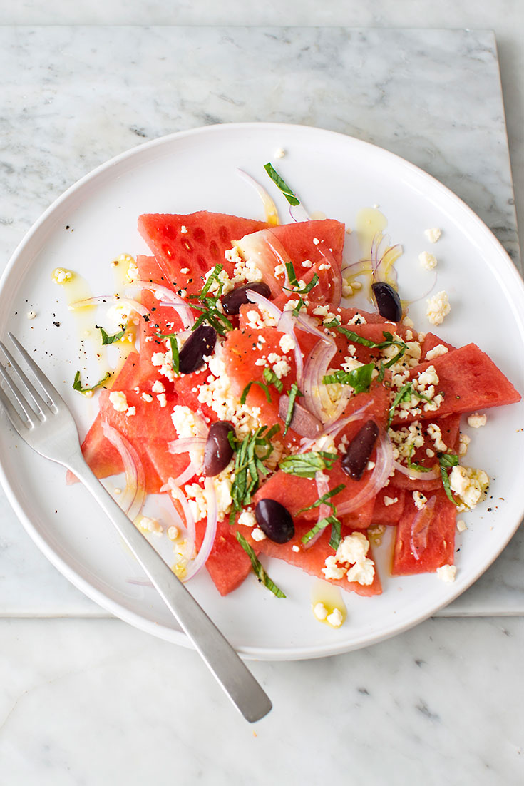 This easy and refreshing watermelon salad with feta and mint is a wonderful summertime side dish.