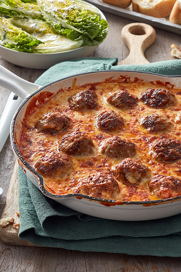 One-pan mince recipes like this meatball parmigiana as perfect for a weeknight dinner recipe.